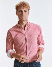 Men`s Long Sleeve Tailored Washed Oxford Shirt